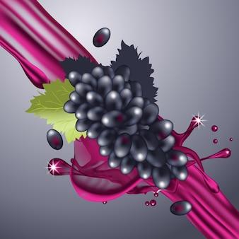 Всплеск сока винограда в движении