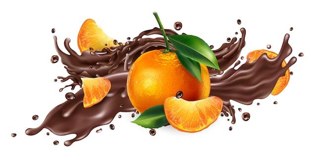 液体チョコレートと新鮮なみかんのスプラッシュ。