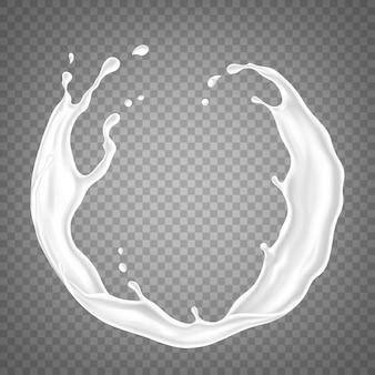 Всплеск молока или сливок на прозрачном фоне