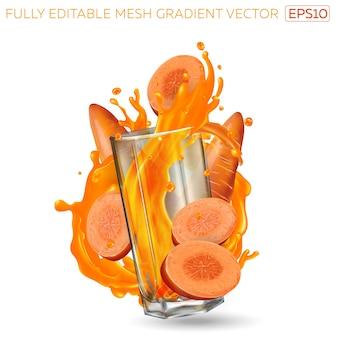 Всплеск овощного сока в стакане и моркови на белом фоне.