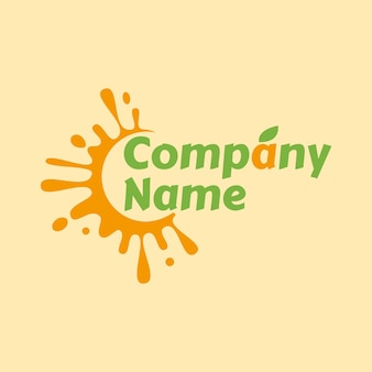Splash of orange juice logo template with green leaves in light yellow background