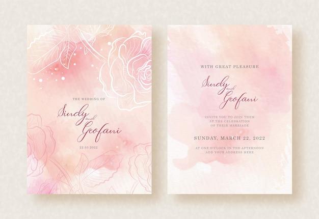 結婚式の招待状にバラと桃の水彩画をスプラッシュ Premiumベクター