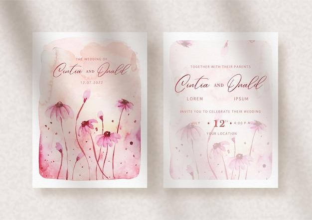 結婚式の招待状にピンクの花をはねかける