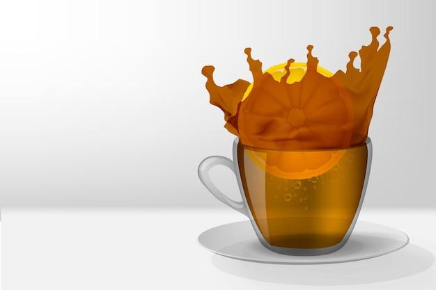 Splash of tea with lemon in a cup