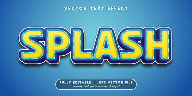 Splash text effect, editable text style