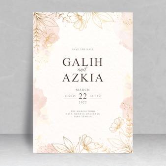 스플래시 수채화 손으로 그린 웨딩 카드 테마 꽃