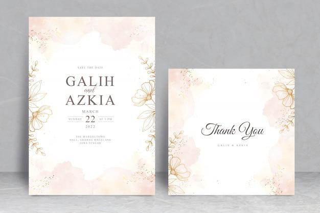 스플래시 수채화 손으로 그린 꽃 웨딩 카드 템플릿