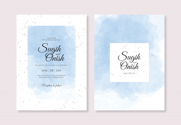 Splash watercolor hand painting for sweet wedding invitation card template
