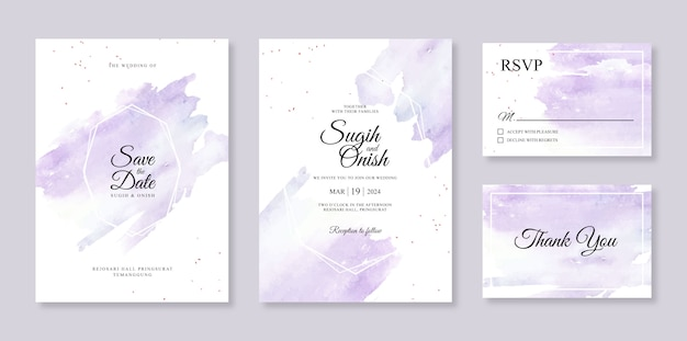 エレガントな結婚式の招待カードテンプレートのスプラッシュ水彩手の絵画と幾何学的なライン
