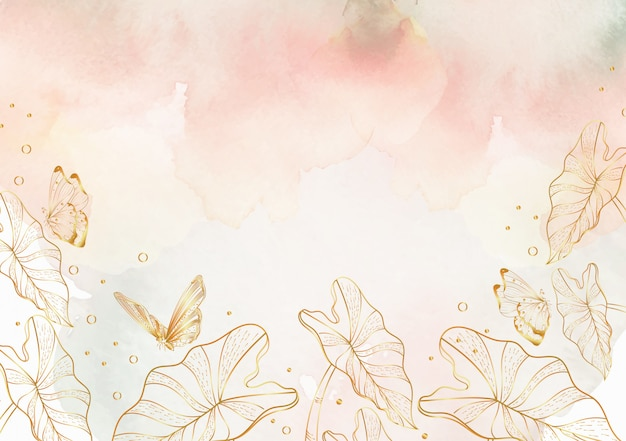 花のラインアートの背景を持つスプラッシュ水彩画