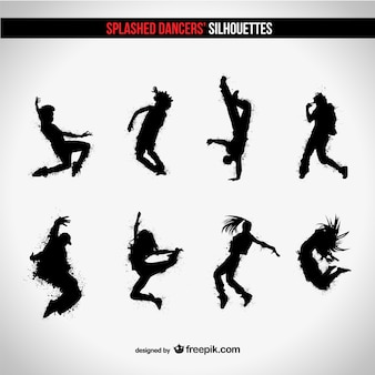 Splashed dancers silhouettes