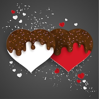 Splashes of chocolate and love shapes