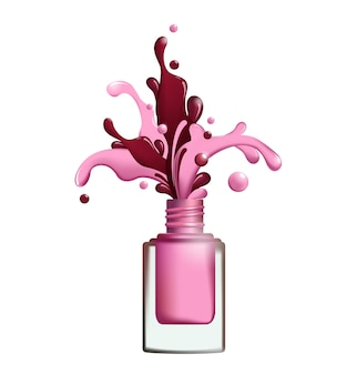 Splashes of nail polish froze in motion on white background. vector template for your designs, brochures, ads,banners