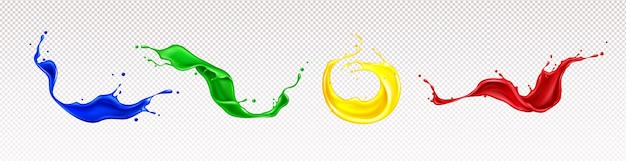 Splashes of paint with swirls and drops isolated Free Vector