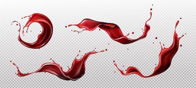 Spruzzi di succo di vino o bevanda rosso sangue liquido