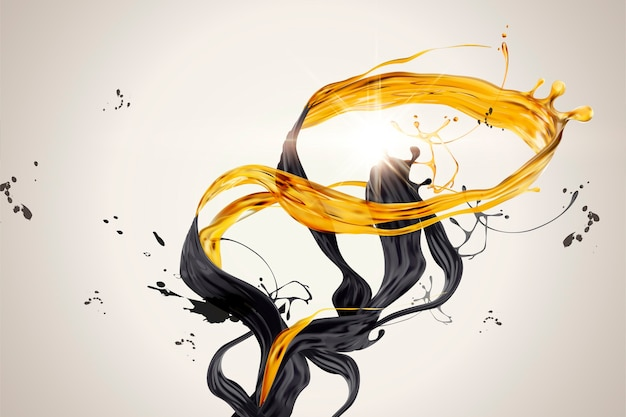 Splashing golden and black liquid in 3d illustration