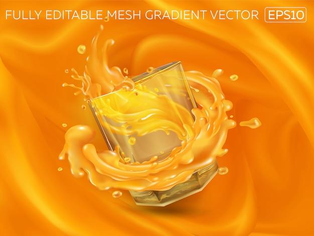 Splashing juice in a glass on an orange background.