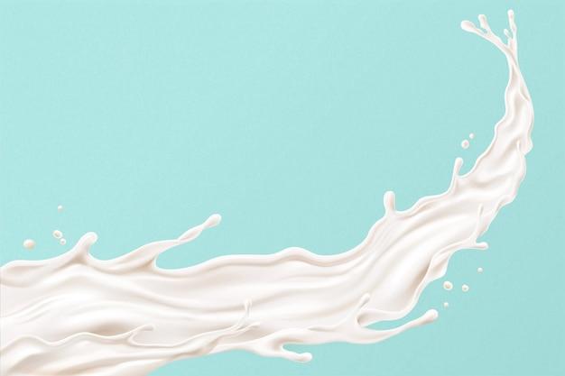 Splashing milk on blue background in 3d illustration