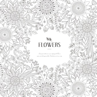 Splendid flower frame coloring page in exquisite style