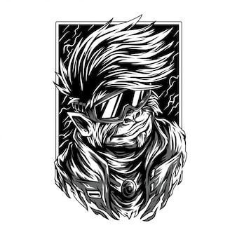 Splichood remastered黒と白のイラスト
