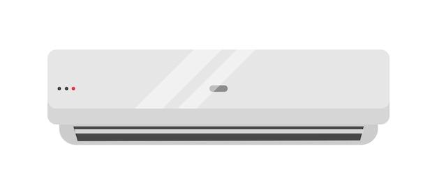 분할 에어컨 현실적인 벡터 일러스트 레이 션. 벽에 매달려 있는 현대적인 날씨 제어 전기 제품. 흰색 배경에 격리된 사무실 공간을 위한 공기 냉각, 정화 및 난방 도구입니다.