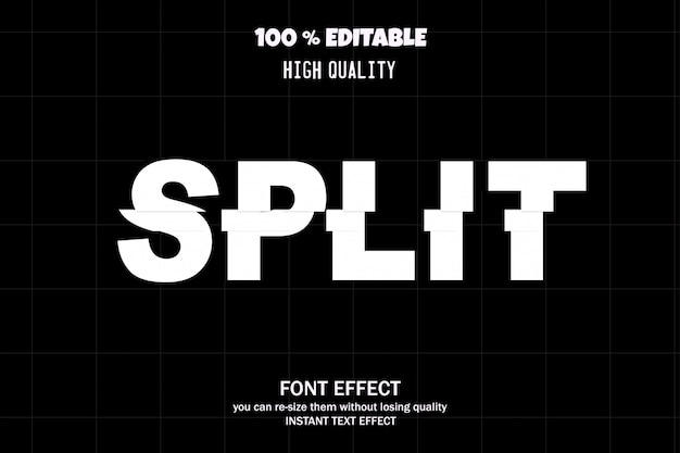 Split editable font effect