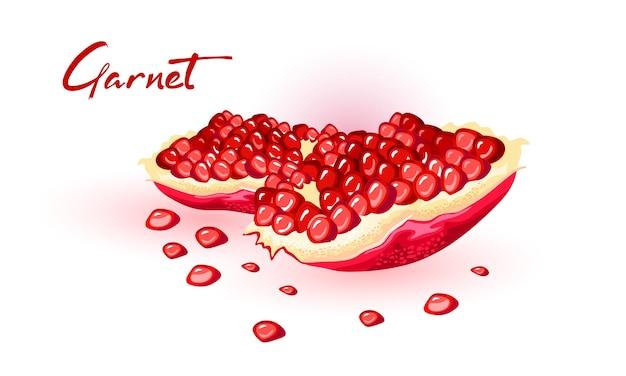 붉은 익은 보석 같은 씨앗으로 신선한 석류를 나누십시오.