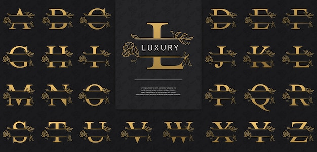Split letters with luxurious gold flowers logo
