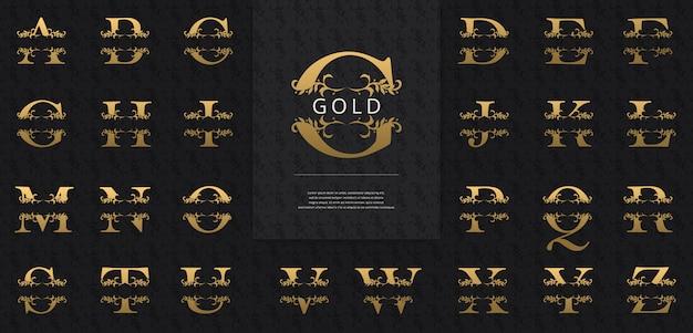Сплит буквы с роскошным логотипом сусального золота