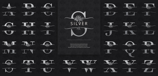 Split letters with silver flowers logo