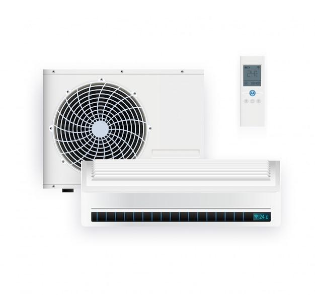 시스템 에어컨 인버터를 분리하십시오. 차갑고 차가운 기후 제어 시스템. 리모콘으로 현실적인 컨디셔닝. 삽화