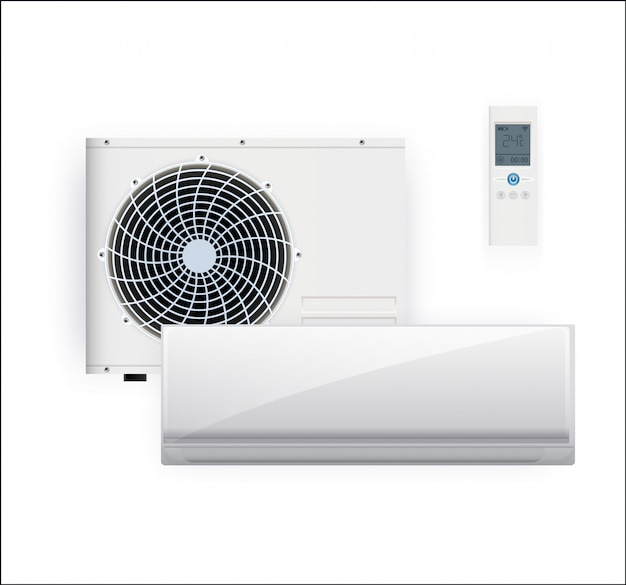 Split system air conditioner inverter. cool and cold climate control system. realistic conditioning with remote controller. illustration Premium Vector