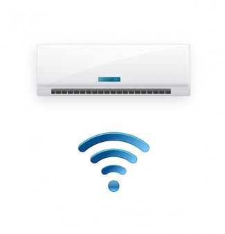 Split system air conditioner inverter. cool and cold climate control system. realistic conditioning with wifi control over the internet. illustration Premium Vector