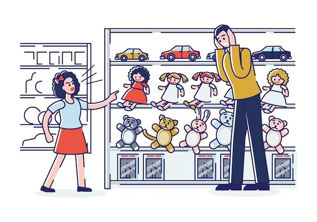 Избалованная дочь делает сцену в магазине. озорная маленькая девочка кричит, хочет новую игрушку