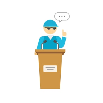 Spokesman flat cartoon or speaker person on podium