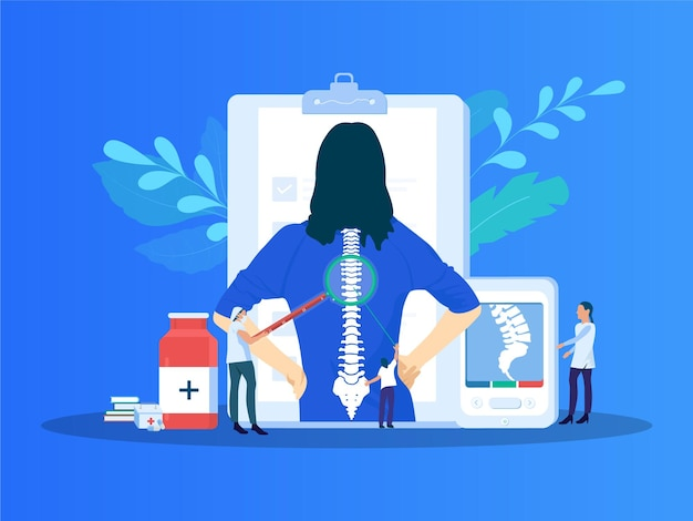 Spondylosis pain vector illustration pain in the spine illustration with highlighted skeleton