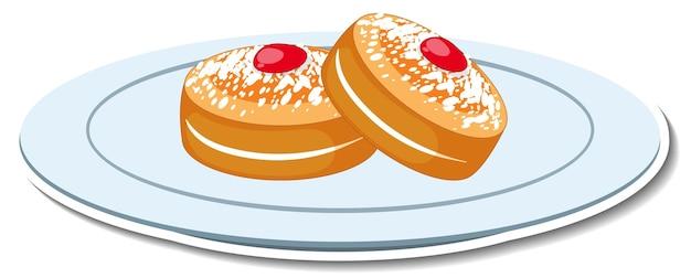 접시에 설탕과 딸기 잼 토핑을 얹은 스폰지 케이크