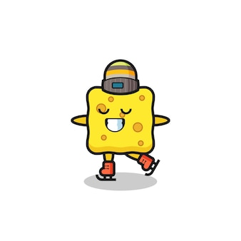 Sponge cartoon as an ice skating player doing perform , cute style design for t shirt, sticker, logo element