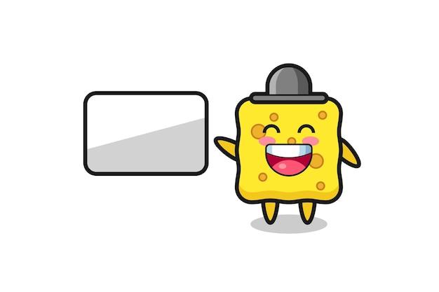 Sponge cartoon illustration doing a presentation , cute style design for t shirt, sticker, logo element