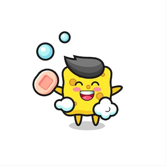 Sponge character is bathing while holding soap , cute style design for t shirt, sticker, logo element