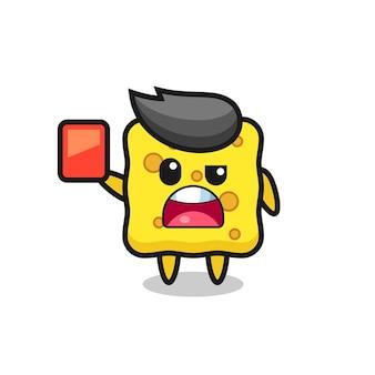 레드 카드를 주는 심판으로 귀여운 스폰지 마스코트, 티셔츠, 스티커, 로고 요소를 위한 귀여운 스타일 디자인