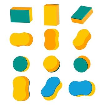 Набор иконок губки, изолированные на белом фоне.