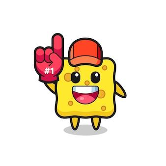 Sponge illustration cartoon with number 1 fans glove , cute style design for t shirt, sticker, logo element