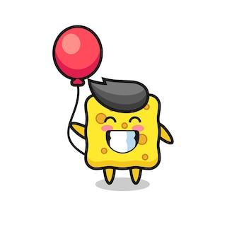 Иллюстрация талисмана губки играет на воздушном шаре, милый стиль дизайна для футболки, наклейки, элемента логотипа