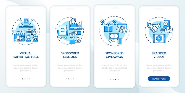 Sponsorship remote events ideas onboarding mobile app page screen with concepts