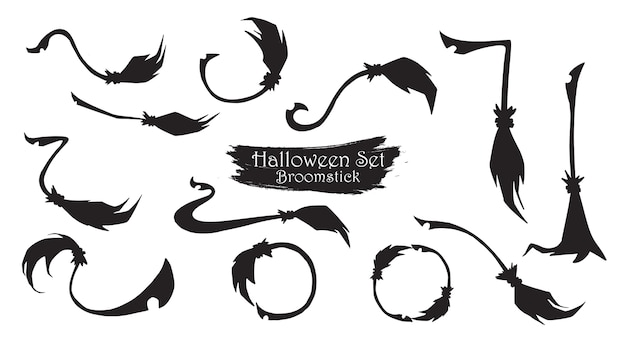 Spooky broomstick silhouette collection of halloween