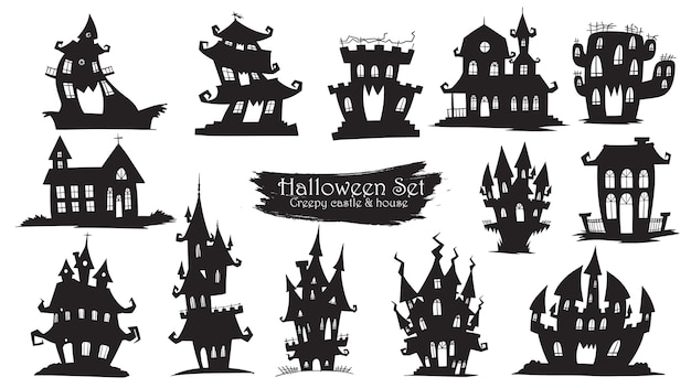 Spooky castle silhouette collection of halloween