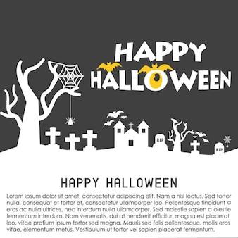 Spooky cemetery halloween background