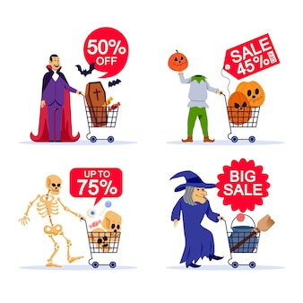 Spooky character and shopping cart in halloween sale