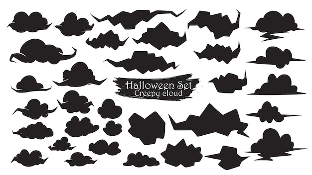Spooky cloud silhouette collection of halloween